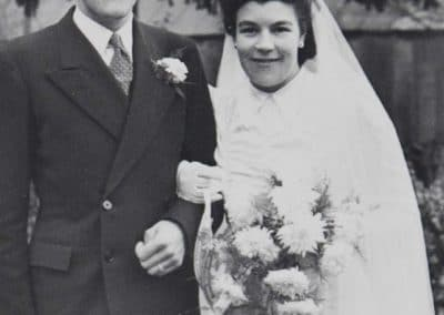 Joan Burroughs with husband on wedding day-crop