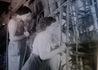 Riveter girls at work at the secret factory
